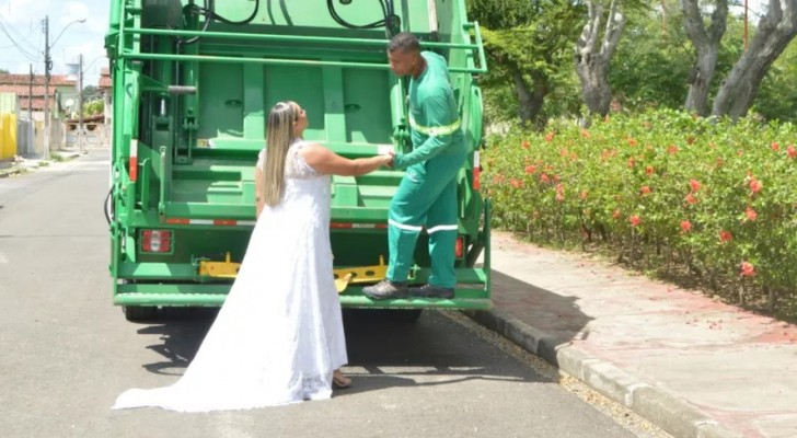 A bride decides to take wedding photos on a garbage truck to honor her husband's job