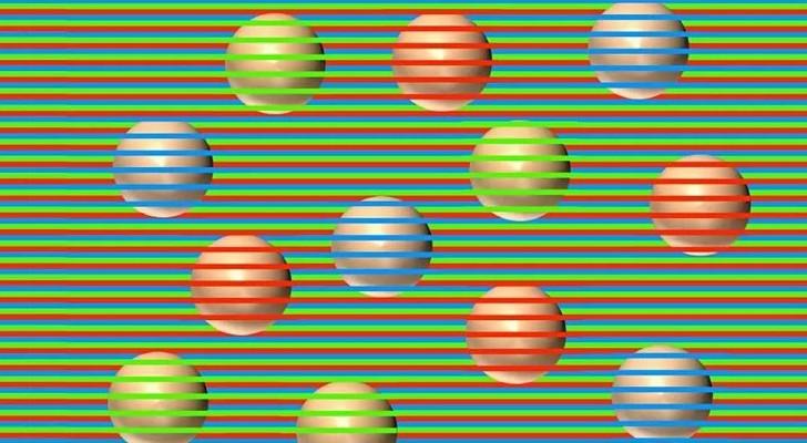 Farbige Kugeln oder nicht? Ein kurioses optisches Phänomen zeigt, dass sie anders sind, als sie sind