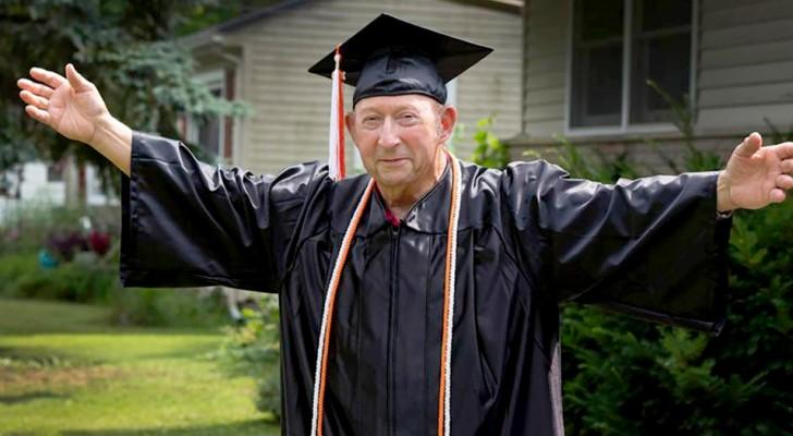 Op 87-jarige leeftijd behaalde hij het diploma van de hogere school dat hij eerder niet had kunnen behalen: