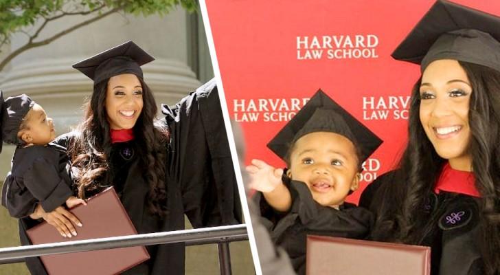 Mãe solo se forma em Harvard e aparece na cerimônia com a filha