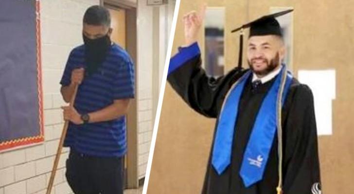 Er war 23 Jahre lang Hausmeister, jetzt hat er mit Bestnoten seinen Abschluss gemacht, um Lehrer zu werden
