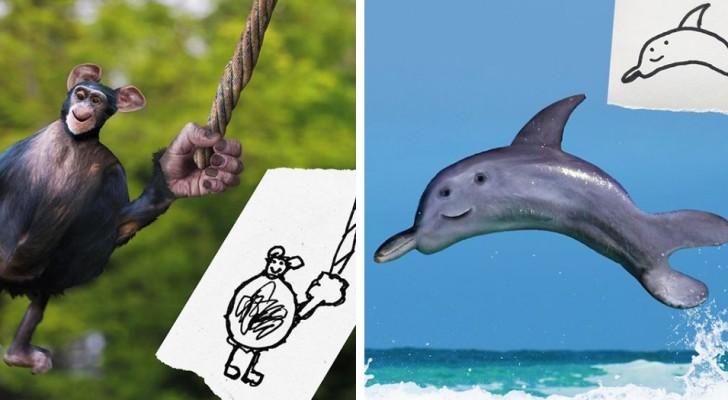 Un papà dà vita ai disegni dei bambini e li trasforma in animali dalle sembianze bizzarre