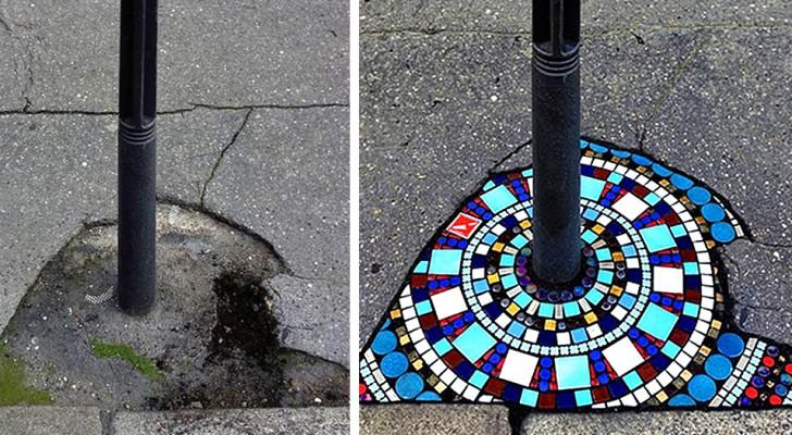 Un artiste de Lyon répare les trottoirs avec de belles mosaïques : ses œuvres nous donnent le sourire