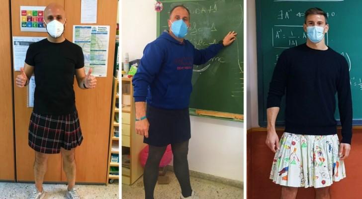 Studente espulso da scuola per aver indossato una gonna: i professori per protesta si vestono come lui