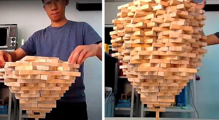 Il empile plus de 1 500 blocs Jenga sur une seule brique : il a battu son propre record du monde