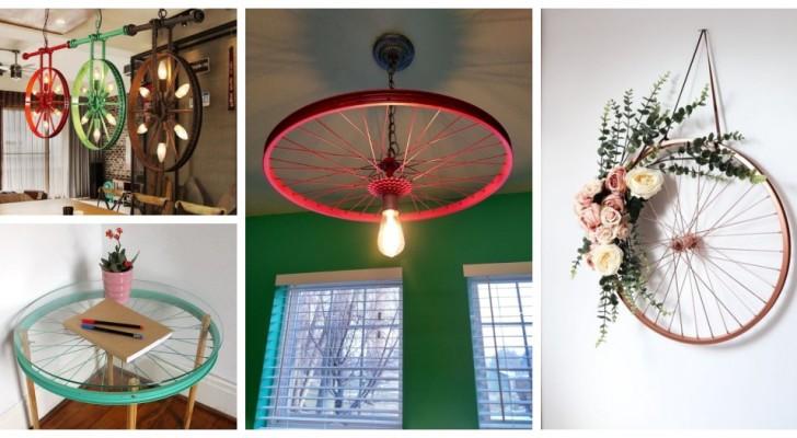 Obtenez de splendides décorations pour la maison et le jardin en recyclant des roues de vélo et de charrette