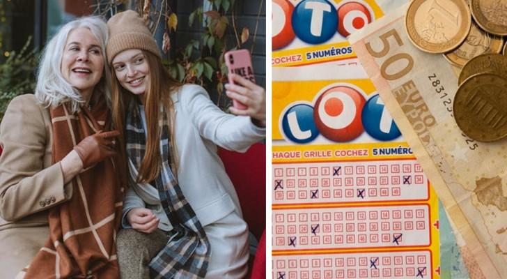 Ze geeft haar moeder voor haar verjaardag een lot en ze wint een jaar lang £10.000 per maand