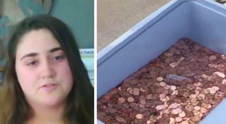 Paga il mantenimento della figlia scaricando in giardino 80.000 monete da un centesimo