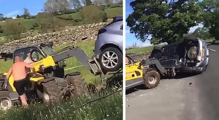Ze parkeren de auto voor de ingang van een stuk land: de boer pakt de graafmachine en neemt wraak