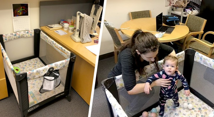 A professor installs a cot in his office to allow a new mother to follow the lessons