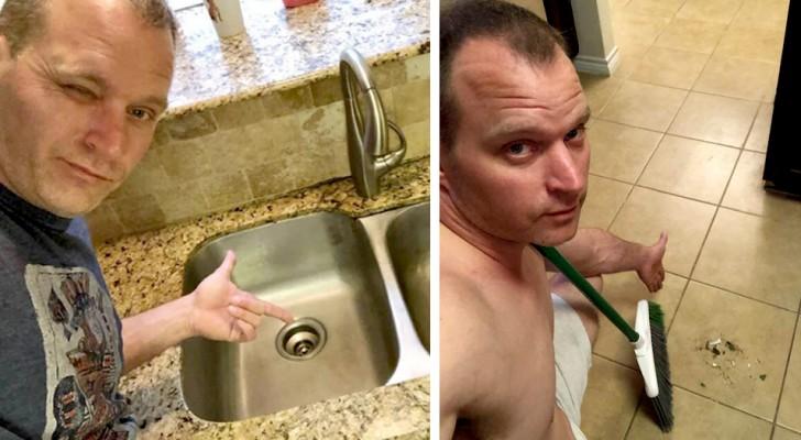 Ele tira selfies enquanto limpa a casa e envia para a sua mulher: ele quer conquistá-la todos os dias