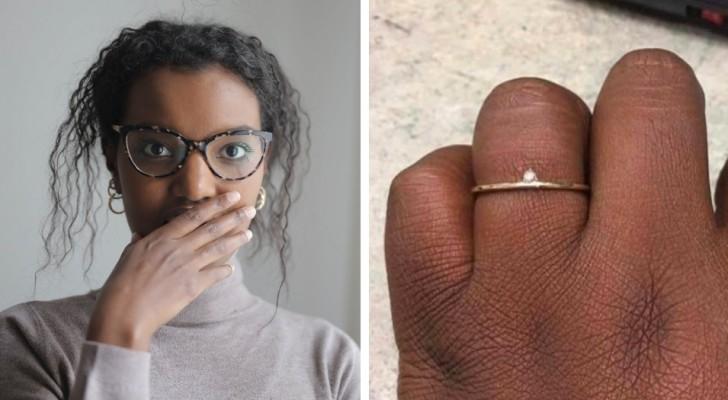 """Eine Frau beschwert sich über den zu kleinen Ring, den sie nach 8 Jahren Beziehung von ihrem Freund bekommen hat: """"Ist das eine Beleidigung?"""""""