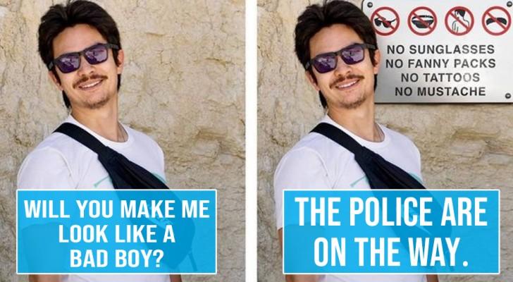 Dit genie van Photoshop bewerkt de foto's die ze hem sturen, waarbij hij de aanwijzingen te letterlijk neemt