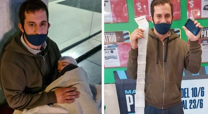 Den här pappan delar ut sitt cv med sin son i famnen - en kvinna förändrade hans liv tack vare sociala medier