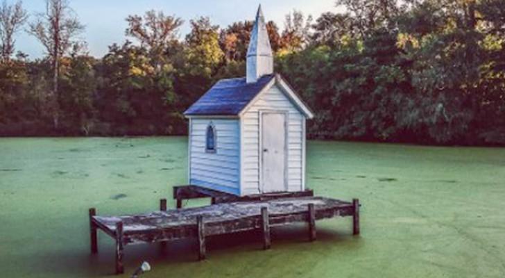 Esta capilla minúscula rodeada de agua es considerada la iglesia más pequeña del mundo
