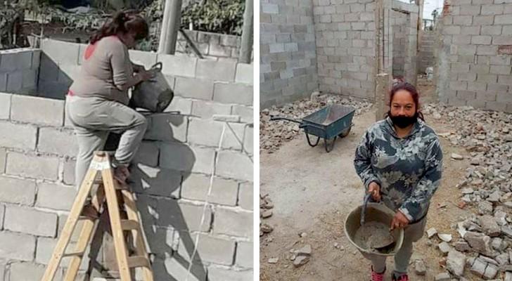 Hon har 4 barn och inga pengar för att betala byggarbetarna - en mamma kavlar upp ärmarna och bygger sitt eget hem