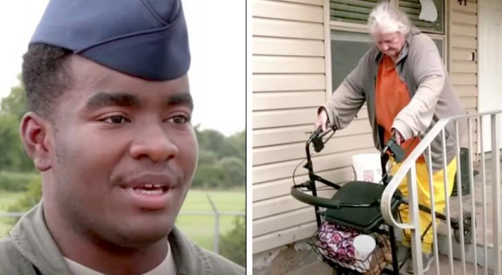 Deze soldaat ziet een oude dame lopen met rollator in de volle zon en biedt haar aan naar huis te brengen