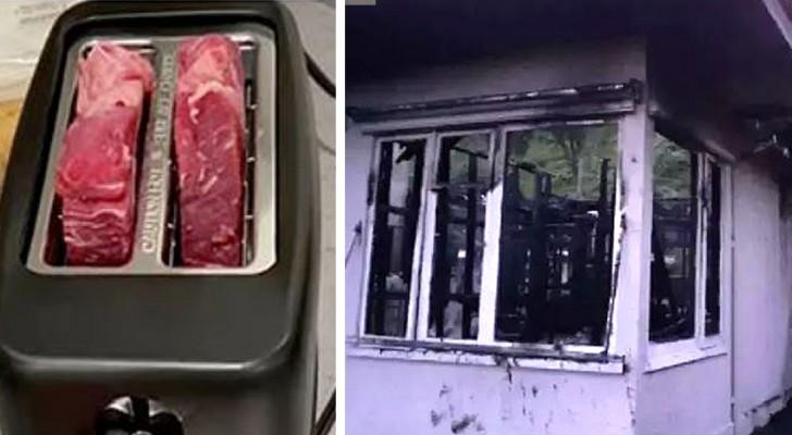 Hij doet een biefstuk in de broodrooster en gaat de deur uit om patat te kopen: als hij terugkomt is het huis afgebrand