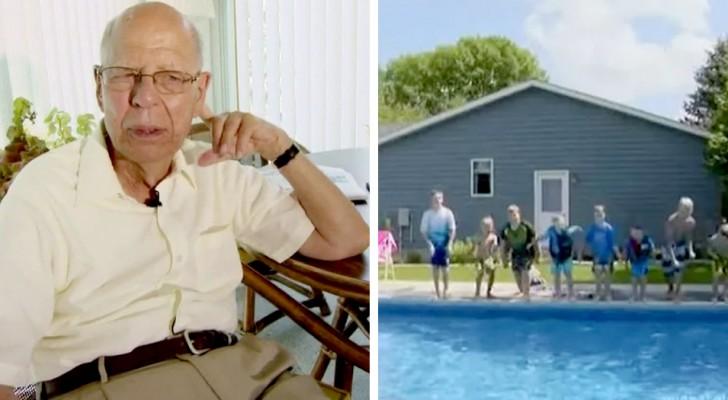Un veuf de 94 ans construit une piscine dans son jardin pour tous les enfants du quartier : il ne voulait pas être seul