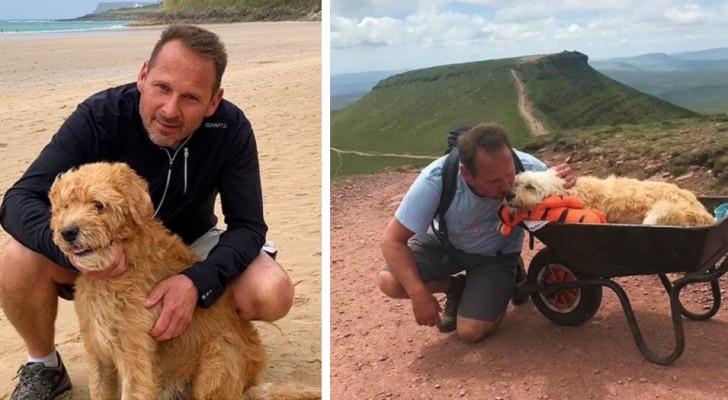 Zijn hond heeft nog maar een paar dagen te leven, hij vervoert hem op een kruiwagen voor een laatste avontuur samen