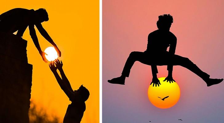 Dieser Künstler spielt mit der untergehenden Sonne: 13 Fotos von surrealem und romantischem Charme
