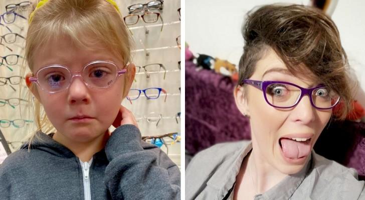 Una niña está triste porque deberá llevar los anteojos: los usuarios de la web la consuelan mostrándole sus lentes