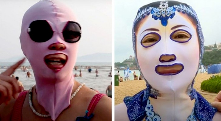 This face cover is worn by Chinese women to avoid a suntanned face