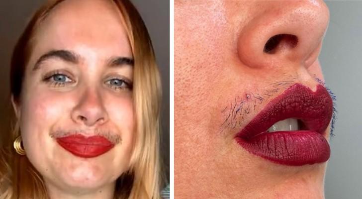 Destaca o bigode com rímel e desafia todos os padrões de beleza: É normal ser peluda
