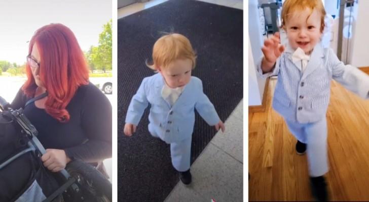 Sie bringt ihren einjährigen Sohn zu einem Vorstellungsgespräch mit und kleidet ihn in Jackett und Fliege