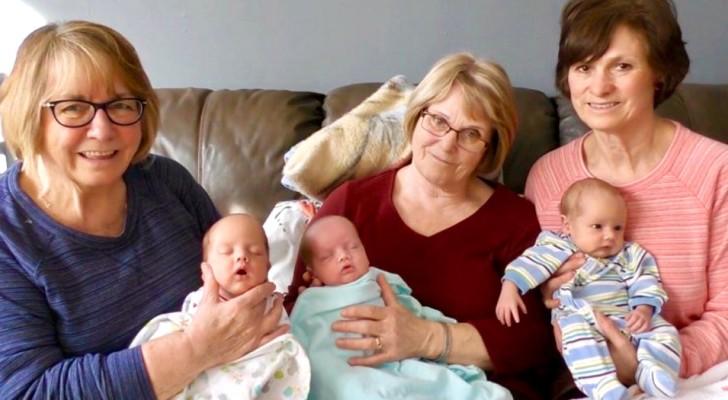 Mamma single non ha le forze per gestire i suoi 3 gemellini e chiede aiuto: 3 nonne rispondono all'appello