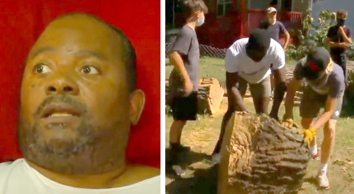 Una tempesta distrugge il giardino di quest'uomo paralizzato: dei giocatori di football glielo risistemano