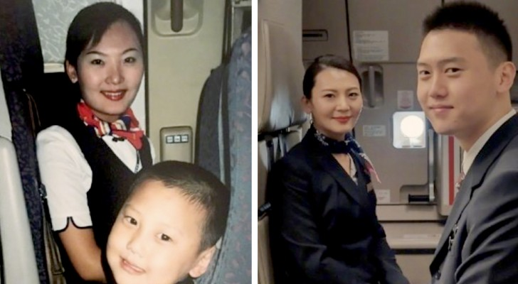 Im Alter von 5 Jahren macht er ein Foto mit einer Flugbegleiterin: 15 Jahre später werden sie Kollegen und machen ein ähnliches Foto