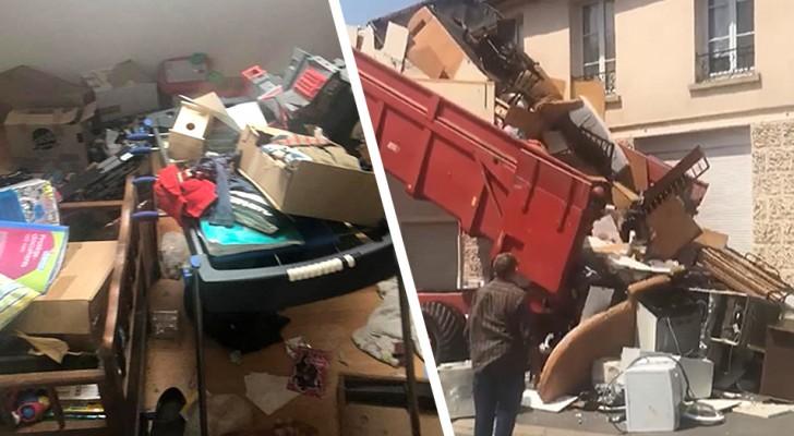 Les locataires laissent la maison pleine d'ordures : le propriétaire les déverse devant leur porte
