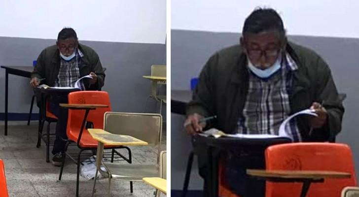 Een man maakt zijn droom waar en schrijft zich in op de universiteit: zijn foto in de klas gaat het web rond