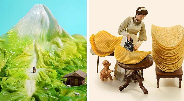 Questo artista giapponese crea spettacolari diorami con oggetti comuni: sono veri mondi in miniatura