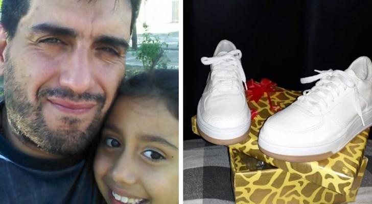 Hij biedt werk aan in ruil voor een paar schoenen voor zijn dochter: een vrouw geeft ze hem zonder er iets voor terug te vragen