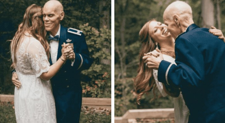This bride-to-be organized a photo shoot to take pictures of the wedding dance with her sick father