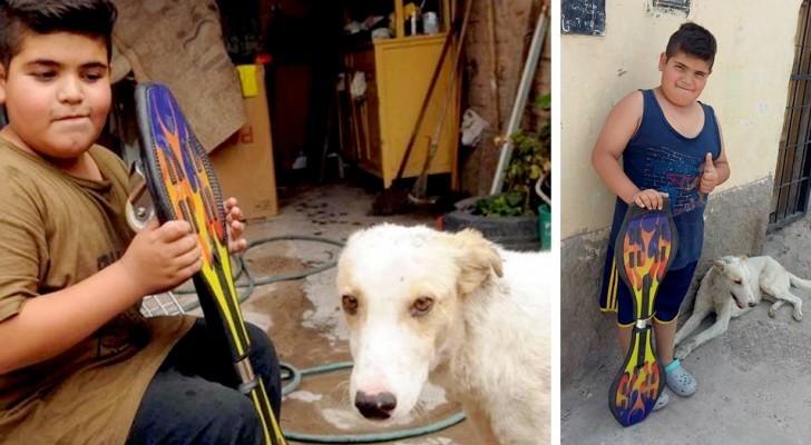 Jongen adopteert een zieke hond en verkoopt zijn skateboard zodat hij voor hem kan zorgen
