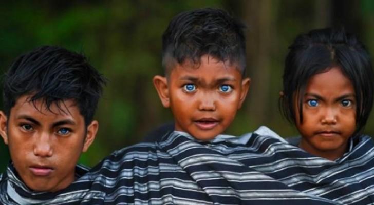 Fotografo cattura i rari e ammalianti occhi azzurri dei membri di una tribù indonesiana