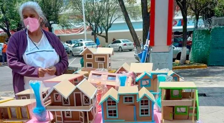 Arme oma maakt huisjes van karton in ruil voor eten en doet echt alles om te overleven