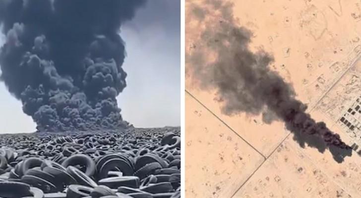 Le plus grand cimetière de pneus du monde en feu : une catastrophe écologique est à craindre