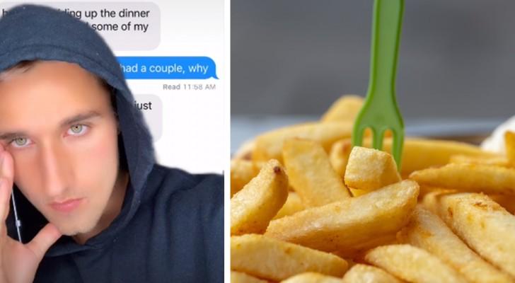Il mange des frites dans l'assiette de son ami : ce dernier réclame un virement de 40 centimes