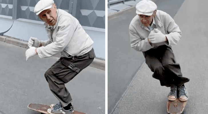At 73 he manages to skateboard like a teenager: his skills go around the web