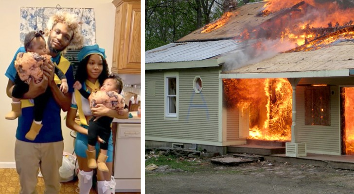 Een jonge vader werpt zichzelf in de vlammen om zijn twee 18 maanden oude tweeling te redden