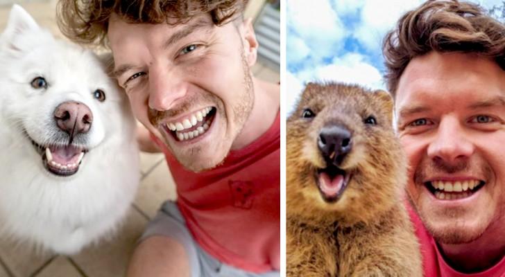 Junger Fotograf schließt Freundschaften und macht lustige Selfies mit den Tieren, denen er auf seiner Reise um die Welt begegnet