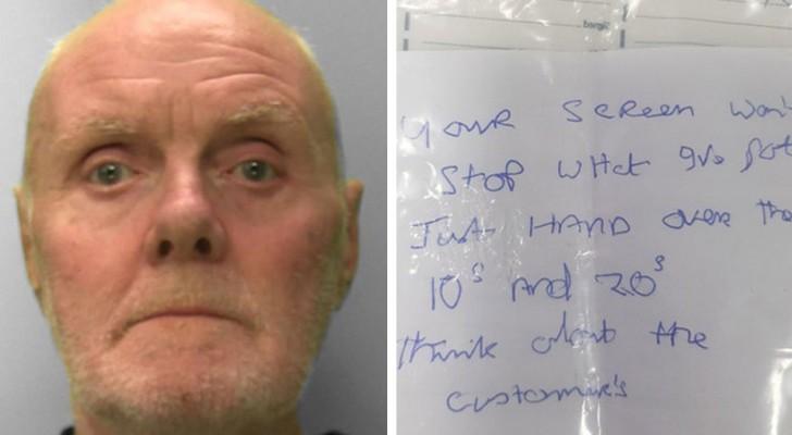 Er hinterlässt eine einschüchternde Notiz für die Bankangestellten, aber die Handschrift ist unleserlich: Raubüberfall vereitelt