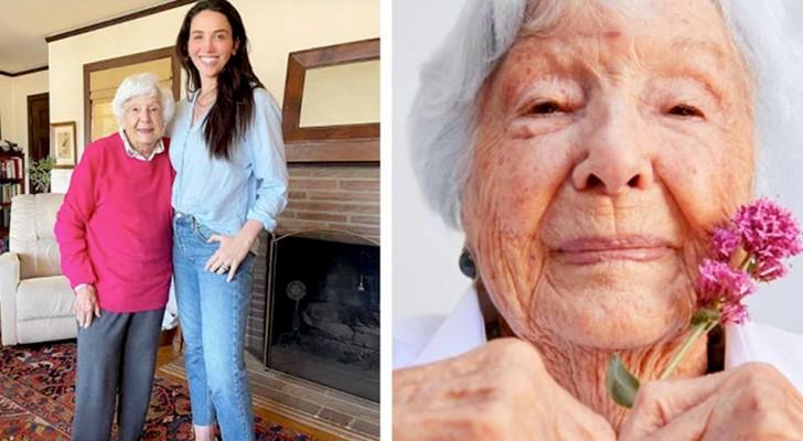 Over-overgrootmoeder wordt op 99-jarige leeftijd model met de hulp van haar kleindochter en haar cosmetica