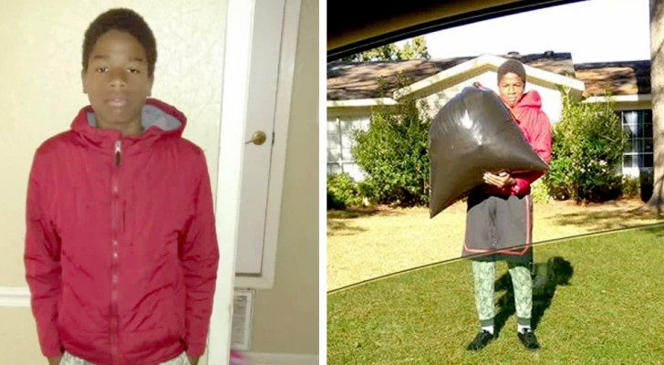 Suspended from school, his mother punishes him by making him take out the garbage and mow the neighbors' lawn