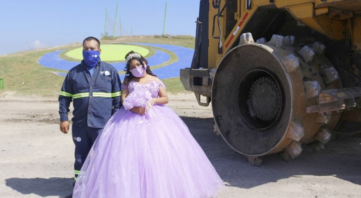 She turns 15 and celebrates by being photographed next to her father who works in a landfill: I'm proud of him