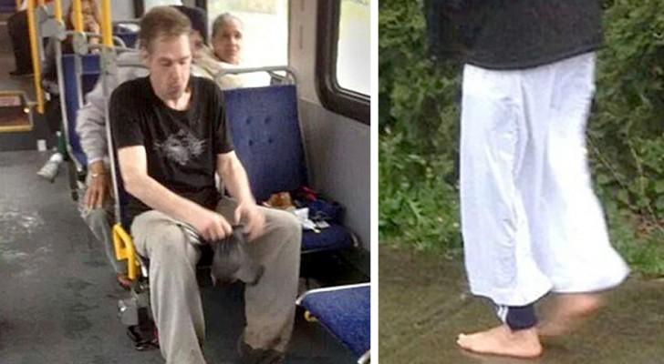 Ein Obdachloser fährt barfuß Bus, ein Mann bemerkt das und schenkt ihm seine Schuhe